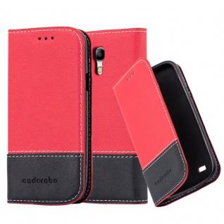 Cadorabo Hülle für Samsung Galaxy S4 MINI in ROT SCHWARZ ? Handyhülle mit Magnetverschluss, Standfunktion und Kartenfach ? Case Cover Schutzhülle Etui Tasche Book Klapp Style