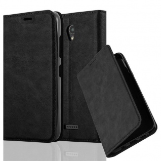Cadorabo Hülle für Lenovo A PLUS in NACHT SCHWARZ Handyhülle mit Magnetverschluss, Standfunktion und Kartenfach Case Cover Schutzhülle Etui Tasche Book Klapp Style