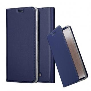 Cadorabo Hülle für WIKO VIEW in CLASSY DUNKEL BLAU Handyhülle mit Magnetverschluss, Standfunktion und Kartenfach Case Cover Schutzhülle Etui Tasche Book Klapp Style