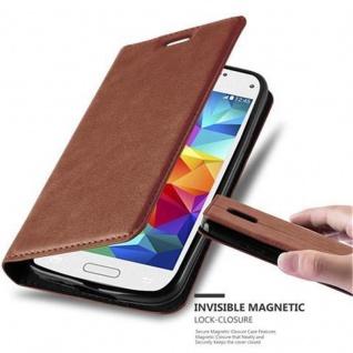 Cadorabo Hülle für Samsung Galaxy S5 MINI / S5 MINI DUOS in CAPPUCCINO BRAUN - Handyhülle mit Magnetverschluss, Standfunktion und Kartenfach - Case Cover Schutzhülle Etui Tasche Book Klapp Style