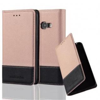 Cadorabo Hülle für Samsung Galaxy J1 2016 in ROSÉ GOLD SCHWARZ - Handyhülle mit Magnetverschluss, Standfunktion und Kartenfach - Case Cover Schutzhülle Etui Tasche Book Klapp Style