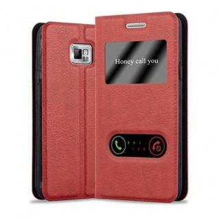 Cadorabo Hülle für Samsung Galaxy S2 / S2 PLUS in SAFRAN ROT - Handyhülle mit Magnetverschluss, Standfunktion und 2 Sichtfenstern - Case Cover Schutzhülle Etui Tasche Book Klapp Style