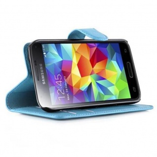 Cadorabo Hülle für Samsung Galaxy S5 MINI / S5 MINI DUOS in PASTEL BLAU - Handyhülle mit Magnetverschluss, Standfunktion und Kartenfach - Case Cover Schutzhülle Etui Tasche Book Klapp Style - Vorschau 3