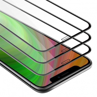 Cadorabo 3x Vollbild Panzer Folie für Apple iPhone XR Schutzfolie in TRANSPARENT mit SCHWARZ 3er Pack Gehärtetes (Tempered) Display-Schutzglas in 9H Härte mit 3D Touch