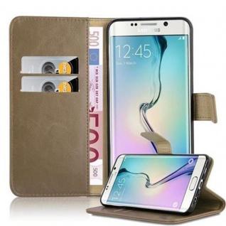 Cadorabo Hülle für Samsung Galaxy S6 EDGE PLUS in CAPPUCCINO BRAUN ? Handyhülle mit Magnetverschluss, Standfunktion und Kartenfach ? Case Cover Schutzhülle Etui Tasche Book Klapp Style