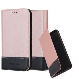 Cadorabo Hülle für LG X Power in ROSÉ GOLD SCHWARZ - Handyhülle mit Magnetverschluss, Standfunktion und Kartenfach - Case Cover Schutzhülle Etui Tasche Book Klapp Style