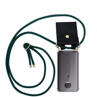 Cadorabo Handy Kette für Motorola MOTO G5S PLUS in ARMEE GRÜN Silikon Necklace Umhänge Hülle mit Gold Ringen, Kordel Band Schnur und abnehmbarem Etui Schutzhülle