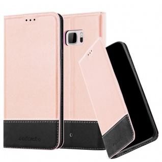 Cadorabo Hülle für HTC U ULTRA in ROSÉ GOLD SCHWARZ ? Handyhülle mit Magnetverschluss, Standfunktion und Kartenfach ? Case Cover Schutzhülle Etui Tasche Book Klapp Style