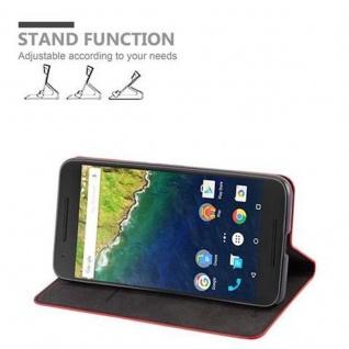Cadorabo Hülle für Huawei NEXUS 6P in APFEL ROT Handyhülle mit Magnetverschluss, Standfunktion und Kartenfach Case Cover Schutzhülle Etui Tasche Book Klapp Style - Vorschau 3