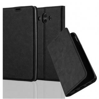 Cadorabo Hülle für Huawei MATE 10 in NACHT SCHWARZ - Handyhülle mit Magnetverschluss, Standfunktion und Kartenfach - Case Cover Schutzhülle Etui Tasche Book Klapp Style