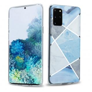 Cadorabo Hülle für Samsung Galaxy S20 PLUS Hülle in Blau weiß grau Marmor No.2 Handyhülle aus TPU Silikon mit Muster Mosaik Silikonhülle Schutzhülle Ultra Slim Back Cover Case Bumper