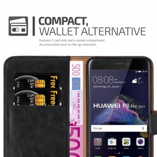 Cadorabo Hülle für Huawei P8 LITE 2017 in GRAPHIT SCHWARZ - Handyhülle mit Magnetverschluss, Standfunktion und Kartenfach - Case Cover Schutzhülle Etui Tasche Book Klapp Style - Vorschau 5