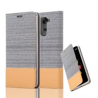 Cadorabo Hülle für LG STYLUS 2 in HELL GRAU BRAUN - Handyhülle mit Magnetverschluss, Standfunktion und Kartenfach - Case Cover Schutzhülle Etui Tasche Book Klapp Style