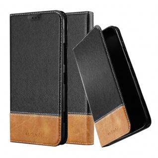 Cadorabo Hülle für Nokia Lumia 1320 in SCHWARZ BRAUN - Handyhülle mit Magnetverschluss, Standfunktion und Kartenfach - Case Cover Schutzhülle Etui Tasche Book Klapp Style
