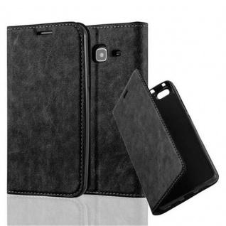 Cadorabo Hülle für Samsung Galaxy J3 2016 in NACHT SCHWARZ - Handyhülle mit Magnetverschluss, Standfunktion und Kartenfach - Case Cover Schutzhülle Etui Tasche Book Klapp Style
