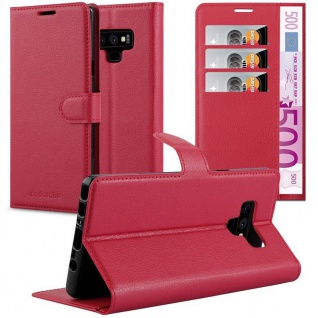 Cadorabo Hülle für Samsung Galaxy NOTE 9 in KARMIN ROT - Handyhülle mit Magnetverschluss, Standfunktion und Kartenfach - Case Cover Schutzhülle Etui Tasche Book Klapp Style