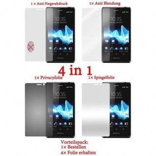 Cadorabo Displayschutzfolien für Sony Xperia T - Schutzfolien in HIGH CLEAR ? 4 Folien (1x Privacy - 1x Spiegel - 1x Matt - 1x Anti-Fingerabdruck)