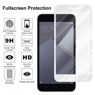 Cadorabo Vollbild Panzer Folie für Xiaomi RedMi NOTE 5A PRIME - Schutzfolie in TRANSPARENT mit WEISS - Gehärtetes (Tempered) Display-Schutzglas in 9H Härte mit 3D Touch Kompatibilität - Vorschau 4