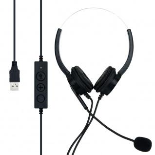 Cadorabo USB Headset in SCHWARZ - Kopfhörer für Laptop Computer PC mit Noise-Cancelling Mikrofon für Homeoffice, Videoanrufe, Gaming, Musik, UVM.