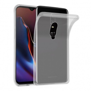 Cadorabo Hülle für OnePlus 6T in VOLL TRANSPARENT Handyhülle aus flexiblem TPU Silikon Silikonhülle Schutzhülle Ultra Slim Soft Back Cover Case Bumper