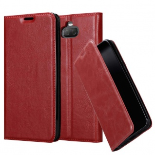 Cadorabo Hülle für Sony Xperia 10 in APFEL ROT - Handyhülle mit Magnetverschluss, Standfunktion und Kartenfach - Case Cover Schutzhülle Etui Tasche Book Klapp Style