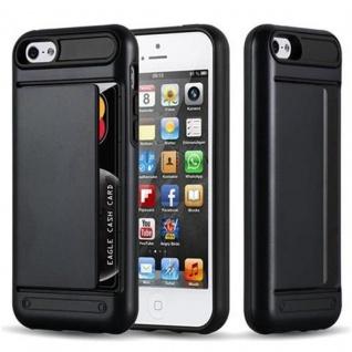 Cadorabo Hülle für Apple iPhone 5 / iPhone 5S / iPhone SE - Hülle in ARMOR SCHWARZ ? Handyhülle mit Kartenfach - Hard Case TPU Silikon Schutzhülle für Hybrid Cover im Outdoor Heavy Duty Design