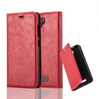 Cadorabo Hülle für ZTE BLADE L5 PLUS in APFEL ROT - Handyhülle mit Magnetverschluss, Standfunktion und Kartenfach - Case Cover Schutzhülle Etui Tasche Book Klapp Style