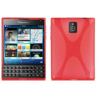 Cadorabo Hülle für Blackberry Q30 - Hülle in INFERNO ROT ? Handyhülle aus flexiblem TPU Silikon im X-Line Design - Ultra Slim Soft Backcover Case Bumper
