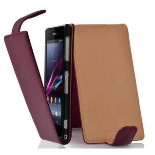 Cadorabo Hülle für Sony Xperia Z1 in BORDEAUX LILA - Handyhülle im Flip Design aus strukturiertem Kunstleder - Case Cover Schutzhülle Etui Tasche Book Klapp Style