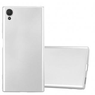 Cadorabo Hülle für Sony Xperia XA1 PLUS in METALLIC SILBER - Handyhülle aus flexiblem TPU Silikon - Silikonhülle Schutzhülle Ultra Slim Soft Back Cover Case Bumper