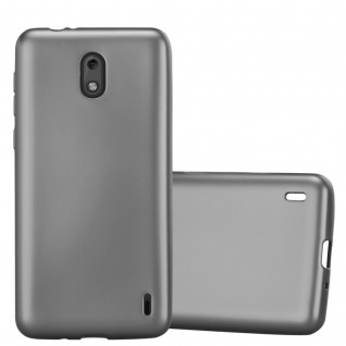 Cadorabo Hülle für Nokia 2 2017 in METALLIC GRAU - Handyhülle aus flexiblem TPU Silikon - Silikonhülle Schutzhülle Ultra Slim Soft Back Cover Case Bumper