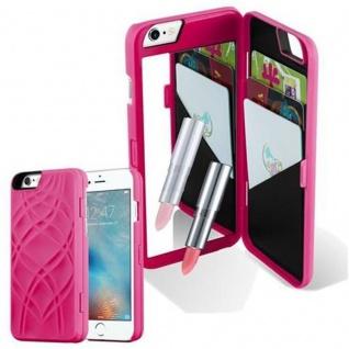 Cadorabo - TPU Hard Cover für Apple iPhone 6 PLUS / iPhone 6S PLUS mit Muster, Spiegel und 3 Kartenfächer ? Case Schutzhülle in PINK