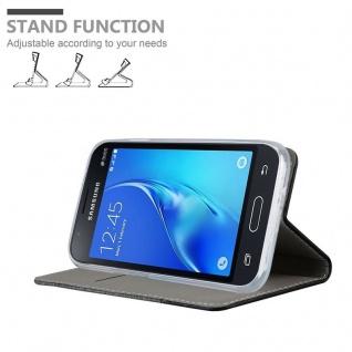 Cadorabo Hülle für Samsung Galaxy J1 MINI 2016 in GRAU SCHWARZ - Handyhülle mit Magnetverschluss, Standfunktion und Kartenfach - Case Cover Schutzhülle Etui Tasche Book Klapp Style - Vorschau 4
