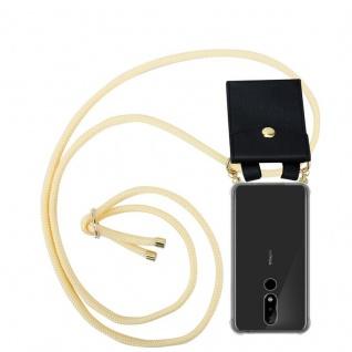 Cadorabo Handy Kette für Nokia 5.1 Plus in CREME BEIGE Silikon Necklace Umhänge Hülle mit Gold Ringen, Kordel Band Schnur und abnehmbarem Etui Schutzhülle