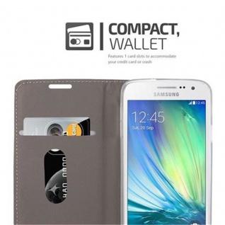 Cadorabo Hülle für Samsung Galaxy A3 2015 in GRAU SCHWARZ - Handyhülle mit Magnetverschluss, Standfunktion und Kartenfach - Case Cover Schutzhülle Etui Tasche Book Klapp Style - Vorschau 3
