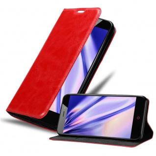 Cadorabo Hülle für ZTE Nubia N1 in APFEL ROT Handyhülle mit Magnetverschluss, Standfunktion und Kartenfach Case Cover Schutzhülle Etui Tasche Book Klapp Style