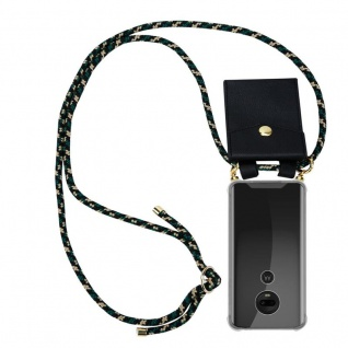 Cadorabo Handy Kette für Motorola MOTO G7 / G7 PLUS in CAMOUFLAGE Silikon Necklace Umhänge Hülle mit Gold Ringen, Kordel Band Schnur und abnehmbarem Etui Schutzhülle