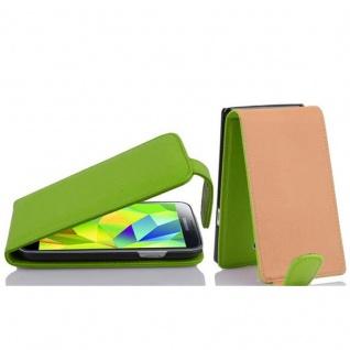 Cadorabo Hülle für Samsung Galaxy S5 MINI / S5 MINI DUOS - Hülle in APFEL GRÜN ? Handyhülle aus strukturiertem Kunstleder im Flip Design - Case Cover Schutzhülle Etui Tasche