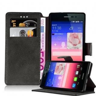 Cadorabo Hülle für Huawei P7 - Hülle in MATT GRAU ? Handyhülle mit Standfunktion und Kartenfach im Retro Design - Case Cover Schutzhülle Etui Tasche Book Klapp Style