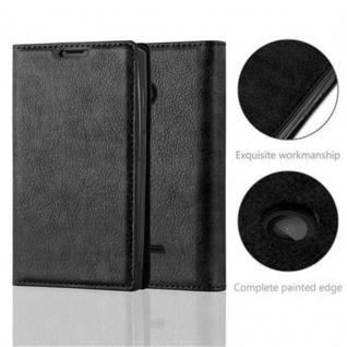 Cadorabo Hülle für Nokia Lumia 435 in NACHT SCHWARZ - Handyhülle mit Magnetverschluss, Standfunktion und Kartenfach - Case Cover Schutzhülle Etui Tasche Book Klapp Style - Vorschau 2