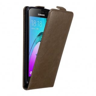 Cadorabo Hülle für Samsung Galaxy J3 / J3 DUOS 2016 in KAFFEE BRAUN Handyhülle im Flip Design mit unsichtbarem Magnetverschluss Case Cover Schutzhülle Etui Tasche Book Klapp Style