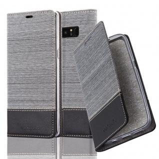 Cadorabo Hülle für Samsung Galaxy NOTE 8 - Hülle in GRAU SCHWARZ ? Handyhülle mit Standfunktion und Kartenfach im Stoff Design - Case Cover Schutzhülle Etui Tasche Book