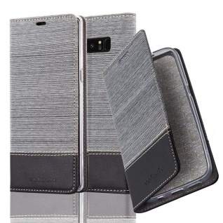 Cadorabo Hülle für Samsung Galaxy NOTE 8 in GRAU SCHWARZ Handyhülle mit Magnetverschluss, Standfunktion und Kartenfach Case Cover Schutzhülle Etui Tasche Book Klapp Style