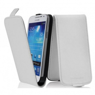 Cadorabo Hülle für Samsung Galaxy S4 MINI - Hülle in POLAR WEIß ? Handyhülle aus glattem Kunstleder im Flip Design - Case Cover Schutzhülle Etui Tasche