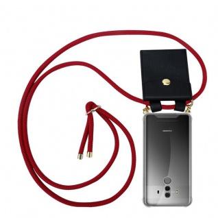 Cadorabo Handy Kette für Huawei MATE 10 PRO in RUBIN ROT - Silikon Necklace Umhänge Hülle mit Gold Ringen, Kordel Band Schnur und abnehmbarem Etui ? Schutzhülle