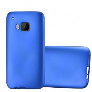 Cadorabo Hülle für HTC One M9 in METALLIC BLAU - Handyhülle aus flexiblem TPU Silikon - Silikonhülle Schutzhülle Ultra Slim Soft Back Cover Case Bumper