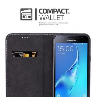 Cadorabo Hülle für Samsung Galaxy J3 / J3 DUOS 2016 in GOLD SCHWARZ - Handyhülle mit Magnetverschluss, Standfunktion und Kartenfach - Case Cover Schutzhülle Etui Tasche Book Klapp Style - Vorschau 5