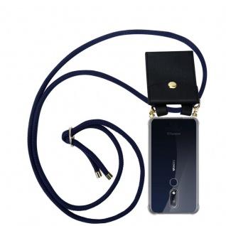 Cadorabo Handy Kette für Nokia 7.1 2018 in TIEF BLAU - Silikon Necklace Umhänge Hülle mit Gold Ringen, Kordel Band Schnur und abnehmbarem Etui ? Schutzhülle