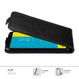 Cadorabo Hülle für Samsung Galaxy J6 2018 in NACHT SCHWARZ - Handyhülle im Flip Design mit Magnetverschluss - Case Cover Schutzhülle Etui Tasche Book Klapp Style - Vorschau 3