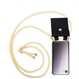 Cadorabo Handy Kette für HTC Desire 12 in CREME BEIGE - Silikon Necklace Umhänge Hülle mit Gold Ringen, Kordel Band Schnur und abnehmbarem Etui ? Schutzhülle